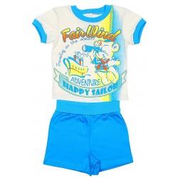 Комплект для мальчика (футболка+шорты), цвет бирюза+экрю