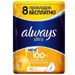 ALWAYS Ultra Женские гигиенические прокладки Light Quatro 40шт