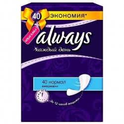 ALWAYS Ежедневные гигиенические прокладки Каждый день Нормал Duo 40шт