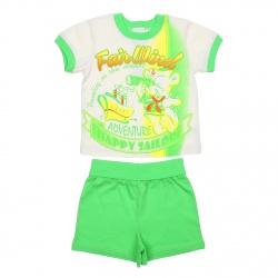 Комплект для мальчика (футболка+шорты) рост 86 (18 мес), цвет салат+экрю