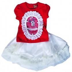Комплект МИННИ футболка с коротким рукавом, юбка, красный, 12 мес.