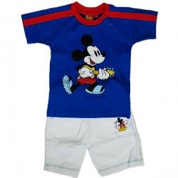 Комплект Микки футболка с коротким рукавом и шорты,синий