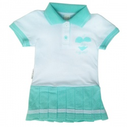 LUCKY CHILD Платье детское (белый с мятным) (74-80)
