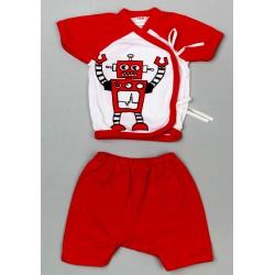 """Костюм """"Красный Робот"""": кофточка, короткие штанишки 0-6 мес, 100% хлопок"""