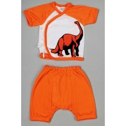 """Костюм """"Оранжевый Динозавр"""": кофточка, короткие штанишки 0-6 мес, 100% хлопок"""