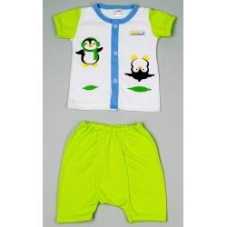 """Костюм """"Салатовый Пингвин"""": футболка на застежке, штанишки 12-18 мес, 100% хлопок"""
