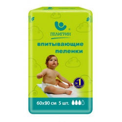 Пеленки Пелигрин детские 60*90 см впитываемость 1650мл (5 шт)