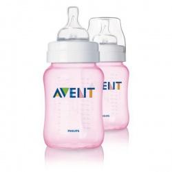 Avent Бутылочка для кормления Classic 260 мл. розовая (2 шт)
