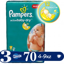 PAMPERS ���������� Active Baby Midi (4-9 ��) ����������� ���� �������� 70