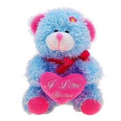 Мишка с сердцем и голубым цветком