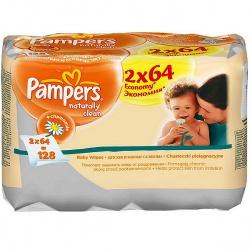 PAMPERS Салфетки детские увлажненные Naturally Clean Duo 2X64