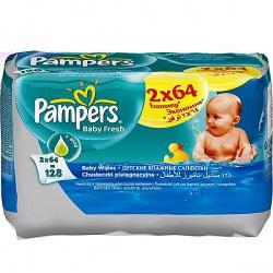 PAMPERS Детские влажные салфетки Baby Fresh Clean Сменный блок Duo 2х64 ПрепакКороб