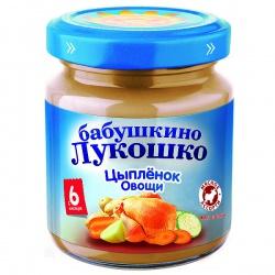 Пюре Бабушкино Лукошко цыпленок овощи с 7 месяцев, 100 г