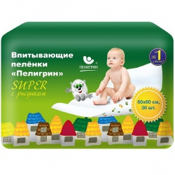 Пеленки Пелигрин детские 60*60 см super впитываемость 1100 мл (30 шт)