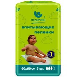 Пеленки Пелигрин детские 60*60 см впитываемость 1100 мл (5 шт)