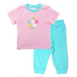 Crockid Комплект, футболочка и штанишки, розовый мятный