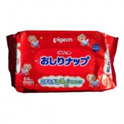 PIGEON Детские влажные салфетки с косметическим молочком, запасной блок, 66 шт