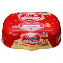 PIGEON Детские влажные салфетки с косметическим молочком, пластиковый контейнер, 64 шт
