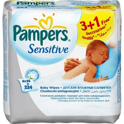 PAMPERS �������� ������� ����������� Sensitive ������� ���� Quatro (3+1)x56