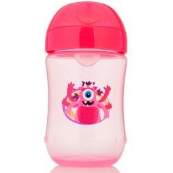 Dr. Brown Чашка-непроливайка 270 мл с мягким носиком 9+ месяцев, розовая и синяя