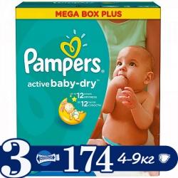 PAMPERS Подгузники Active Baby Midi (5-9 кг) Мега Плюс Упаковка 174