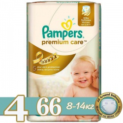 PAMPERS Подгузники Premium Care Maxi (8-14 кг) Джамбо Упаковка 66 шт