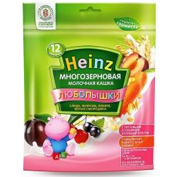 Хайнц Кашка Любопышки многозерновая молочная (слива, морковь,вишня,черная смороди) с 12 мес, 200 гр.