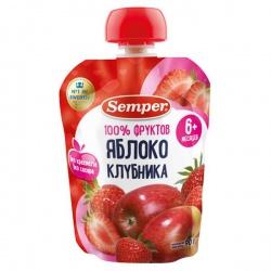 Сэмпер пюре Яблоко и клубника с 6 мес. (пауч) 90 гр