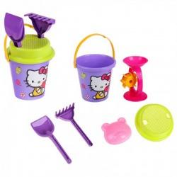 Набор песочный Hello Kitty: ведерко, сито, мельница, лопатка, грабельки, формочка