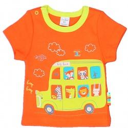 Футболка Зверята на Автобусе (цвет грейпфрут)