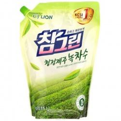CJ Lion Средство для мытья посуды, овощей и фруктов Chamgreen Зеленый чай, мягкая упаковка с колпачком, 1150 мл