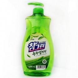 CJ Lion Средство для мытья посуды Chamgreen С ароматом зеленого чая, флакон-дозатор, 960 мл
