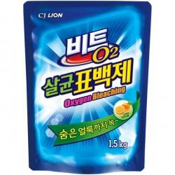 CJ Lion Кислородный отбеливатель Beat O2 порошок, мягкая упаковка, 1.5 кг..