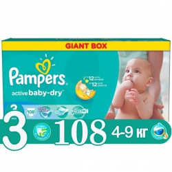 PAMPERS Подгузники Active Baby Midi (4-9 кг) Джайнт Упаковка 108