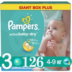 PAMPERS Подгузники Active Baby-Dry Midi (5-9 кг) 126 шт