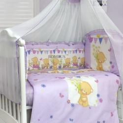 Bombus Комплект в кроватку Мишаня сиреневый
