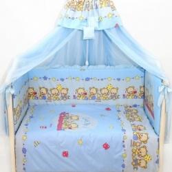Bombus Комплект в кроватку Давай поиграем , 7 пр. голубой