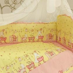 Bombus Комплект в кроватку Забавки , 7 пр. розовый