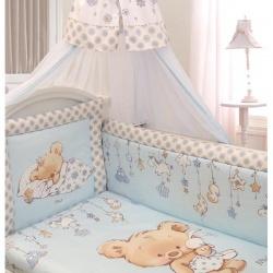 ЗОЛОТОЙ ГУСЬ Комплект в кроватку 7 пр. Mika сатин голубой