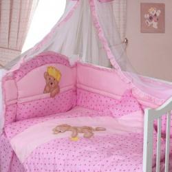 ЗОЛОТОЙ ГУСЬ Комплект в кроватку Мишка-Царь розовый