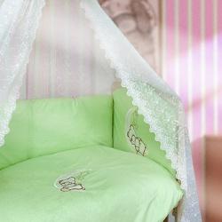 Мой Ангелок Комплект в кроватку 7 пр. Лунный друг фисташковый