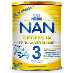Молочная смесь НАН Optipro Гипоаллергенный 3 с 12 месяцев, 400 г.