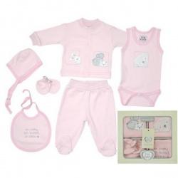 Набор одежды для детей от 0 до 6 мес 6 предметов (розовый цвет)