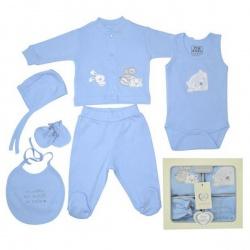 Набор одежды для детей от 0 до 6 мес 6 предметов (синий цвет)