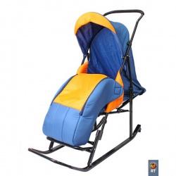 Санки коляска Имго Шустрик 6 с лежачим положением на колесиках (синий-оранжевый)
