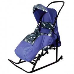 Санки коляска Имго Шустрик 6 с лежачим положением на колесиках (синий)