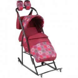 Санки-коляска Kristy Comfort Plus 3В + ВК (бордо/круги)