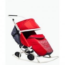 Санки-коляска Kristy Мое детство норвежский орнамент без муфты (Красный)