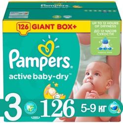 PAMPERS Подгузники Active Baby Midi (5-9 кг) Мега Плюс Упаковка 126