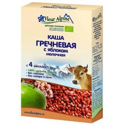 Каша Флёр Альпин Органик молочная гречневая с яблоком с 4 мес. (200 гр.)